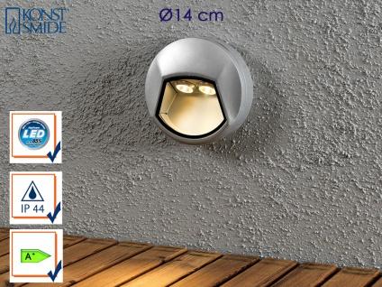 Konstsmide LED Außenwandleuchte CHIERI rund für Treppen Stufen, Aufbauleuchte