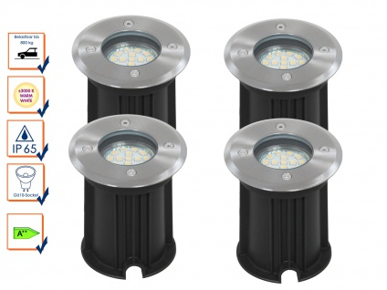 4er-Set LED Bodeneinbaustrahler, rund, belastbar bis zu 800 kg