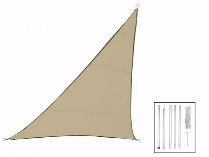 Sonnensegel Dreieck Champagner 3, 6m mit Stangen ? Sonnenschutzsegel für Terrasse