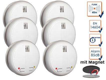 6er SET Funkrauchmelder 40m Reichweite bis 20 Melder koppelbar + Magnethalter