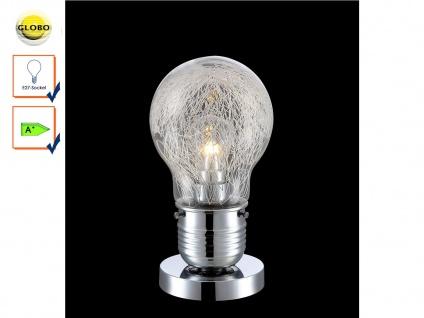 Tischleuchte Design Glühbirne, Chrom / Glas mit Alugeflecht, inkl. LED, Globo