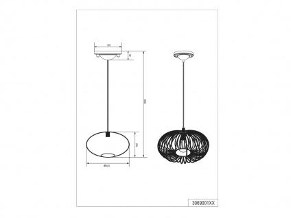 Modernes Pendel für Innen -Wohnzimmerleuchte & Schlafzimmerlampe, grau Antik Look - Vorschau 5
