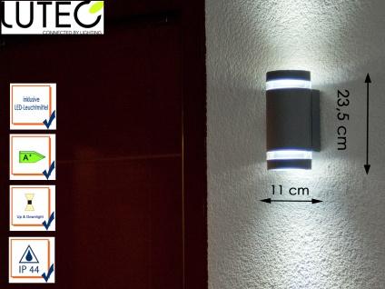 LED Außenwandleuchte Aluguss Silber IP44 H. 23, 5cm Fassadenbeleuchtung außen