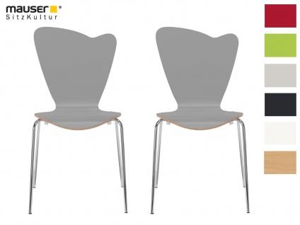 2er Design Stuhl HEART grau Stapelstuhl Esszimmerstuhl Bistrostuhl Schalenstuhl