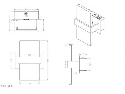 Trio LED Wandleuchte PLATON 13x18cm mit Schalter, Wandlampe Flur Wohnzimmer - Vorschau 5