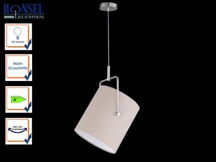Honsel Design LED Pendelleuchte ACE Schirm Leinen natur Hängeleuchte schwenkbar
