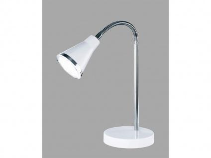 Schöne LED Tischleuchte mit Schirm in Weiß Schreibtischlampe mit Flexarm