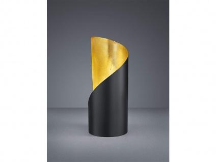 Kleine LED Tischleuchte 1 flammig Metall Schwarz matt / Gold Höhe 24cm Ø10cm