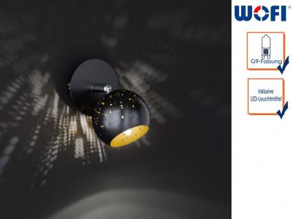 LED Wandleuchte Spot drehbar Schwarz/Gold, Wandleuchte Wohnzimmer Schlafzimmer