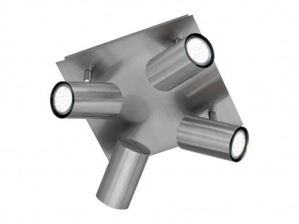 Schwenkbare 4 Spot Deckenlampe, Metall Bürolampe, Wohnraumleuchte in Nickel matt