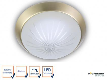 LED Deckenleuchte rund Ø35cm Schliffglas satiniert Messing matt LED Küchenlampe