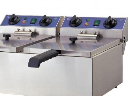 Gastro Doppel Fritteuse 2x 6 L, Edelstahl Profi Kaltzonen Fritteuse Friteuse - Vorschau 3