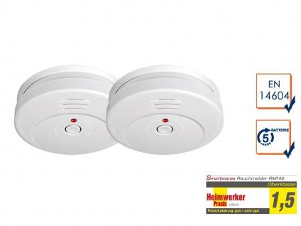 2er-SET Rauchmelder TÜV Zertifiziert & 5 Jahres Batterie, Brand Feuer Melder