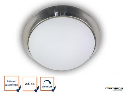 LED Deckenleuchte rund Opal Glas matt Zierring NICKEL matt Ø 30cm Küchenlampe