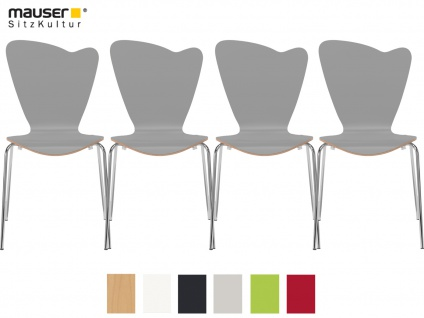 4er Design Stuhl HEART grau Stapelstuhl Esszimmerstuhl Bistrostuhl Schalenstuhl