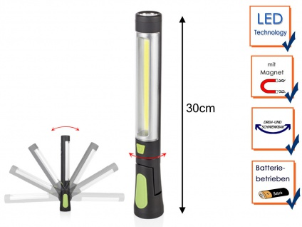 LED Multifunktionsarbeitsleuchte & Taschenlampe mit Magnet, Stablampe Werkstatt