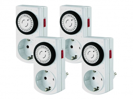4 x Kompakte Tageszeitschaltuhren -Mini Mechanisch-, inkl. Kinderschutz