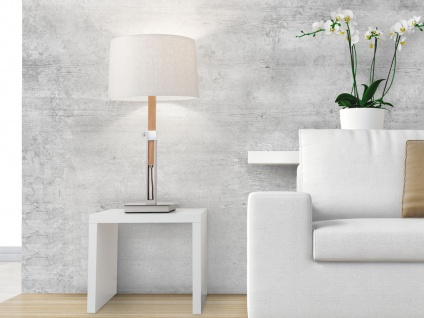 Höhenverstellbare Tischleuchte Holz Eicheoptik mit Lampenschirm aus Leinenstoff