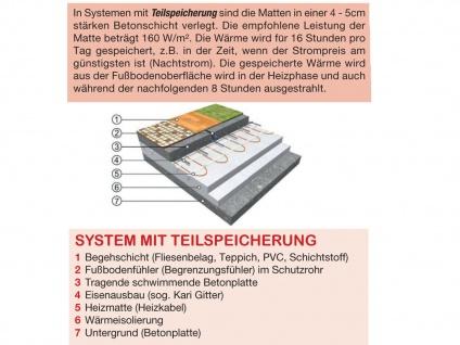 Fußbodenheizung / Heizmatte 1210W, 15, 1 x 0, 5m, 160W / m², Vitalheizung - Vorschau 5