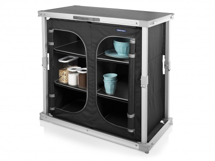 Stabile mobile Campingküche, Campingmöbel mit Klappmechanismus und 6 Staufächern