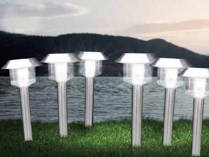 LED Außenbeleuchtung - Solar Erdspießlampen aus Edelstahl 6er SET für den Garten - Vorschau 1