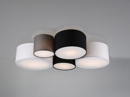 Ausgefallene mehrflammige LED Deckenlampe mit verschiedenen Stofflampenschirmen