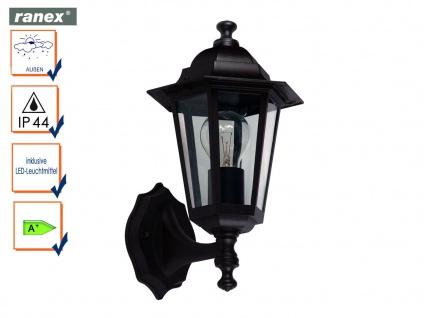 Ranex Außenwandleuchte Laterne CLASSICO schwarz mit LED, Außenbeleuchtung Haus