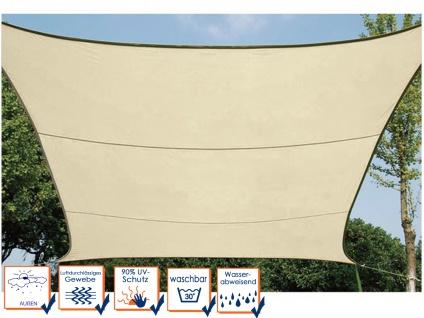 Sonnensegel Regenschutz PEREL, Cremefarbe, 360 x 360 cm, Wasserabweisend