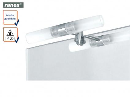 Spiegellampe 2 flammig Spiegelklemmleuchte mit Leuchtmitteln, Glas satiniert
