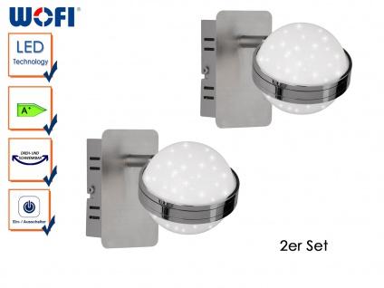2er Set LED Wandspot MONDE mit Schalter, Sterndesign, Wandleuchte Wandlampe