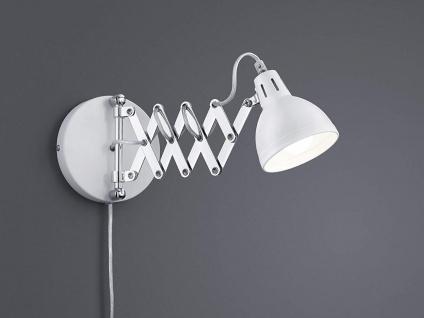 Retro Wandleuchte mit Scherengelenk und rundem Metall Lampenschirm in Weiß matt