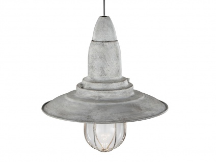 LED Hängelampe grau antik Lampenschirm Glas 32cm, Retro Pendelleuchte Vintage - Vorschau 4