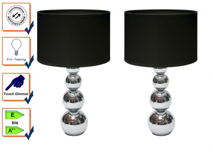 2er SET DEKO Tischleuchte mit Touch dimmbar Stoffschirm Schwarz, Nachttischlampe - Vorschau 1
