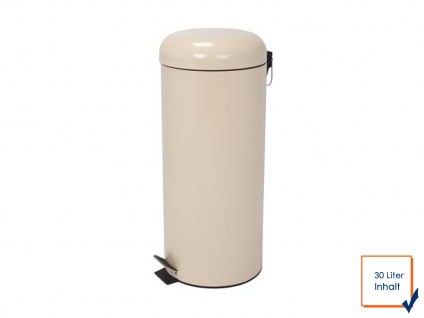 Perel Mülleimer 30 Liter Creme Treteimer Abfalleimer Abfallsammler Müllsammler
