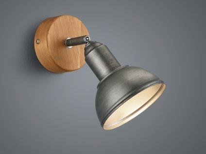 1 flammiger LED Wandstrahler mit Holz, Schirm schwenkbar für Innen & Treppenhaus