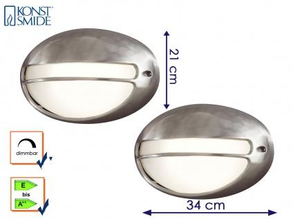 2Stk Konstsmide dimmbare Außenwandleuchte TORINO oval, Außenbeleuchtung modern