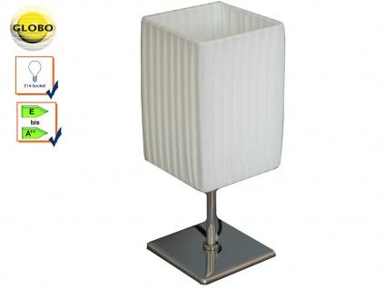 Globo Tischlampe BAILEY, Chrom, Faltenschirm, Tischleuchte Wohnzimmer modern