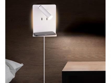 LED Wandleuchte Weiß mit Leselampe USB Anschluss & Ablage Wandlampen fürs Bett