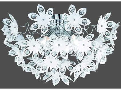 LED Deckenleuchte dimmbar Lampenschirm mit Kristall Blüten & Steinen aus Acryl