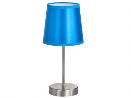 Design LED Nachttischleuchte mit Lampenschirm Stoff blau glänzend Ø 14cm - Flur
