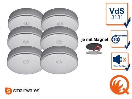 6er SET Rauchmelder 10 Jahres Batterie, VdS & Q-Siegel mit EASY Magnethalterung