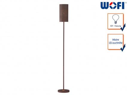 Design Stehleuchte mit LED Metall Schirm Antik braun, H. 150cm, Wohnzimmerlampe