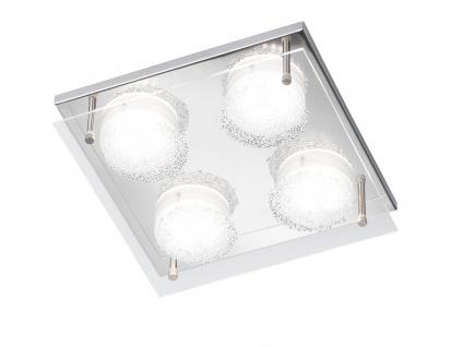 LED Deckenleuchte, Chorm mit Kristalloptik 22 x 22cm, Designerlampe Deckenlampe