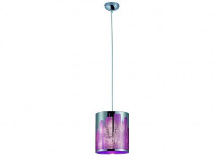Moderne LED Pendelleuchte Metall Lasercut Motiv City Lila 1flammig für Esszimmer
