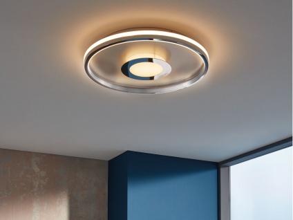 Große LED Deckenleuchte BUG rund Ø81cm mit Fernbedienung - Silber matt & Chrom