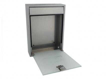 Briefkasten Silber satinierte Tür 2 Schlüssel Design Wandbriefkasten 26x36x8 cm - Vorschau 4