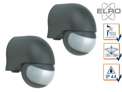 2er Set Aufputz Bewegungsmelder schwarz 12m/200° Lux und Zeitintervall wählbar