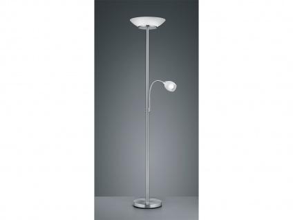 Stehlampe mit Deckenfluter + flex Lesearm getrennt schaltbar in Silber Glas weiß