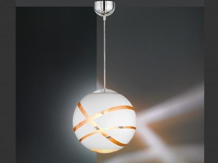 Design Pendelleuchte mit GLAS Lampenschirm in Weiß innen Gold, Eßzimmerlampe