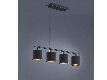 LED Pendelleuchte 4 flammig mit Stoff Lampenschirm in Schwarz / Gold - Esszimmer